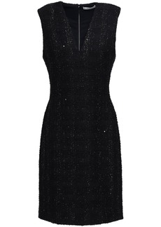 Alice + Olivia Woman Adelaide Sequin-embellished Metallic Tweed Dress Black