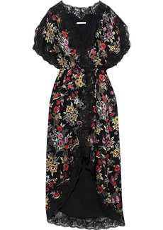 Alice + Olivia Woman Adele Floral-print Fil Coupé Chiffon Midi Wrap Dress Black