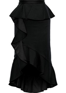 Alice + Olivia Woman Alessandra Ruffled Cotton-blend Peplum Skirt Black