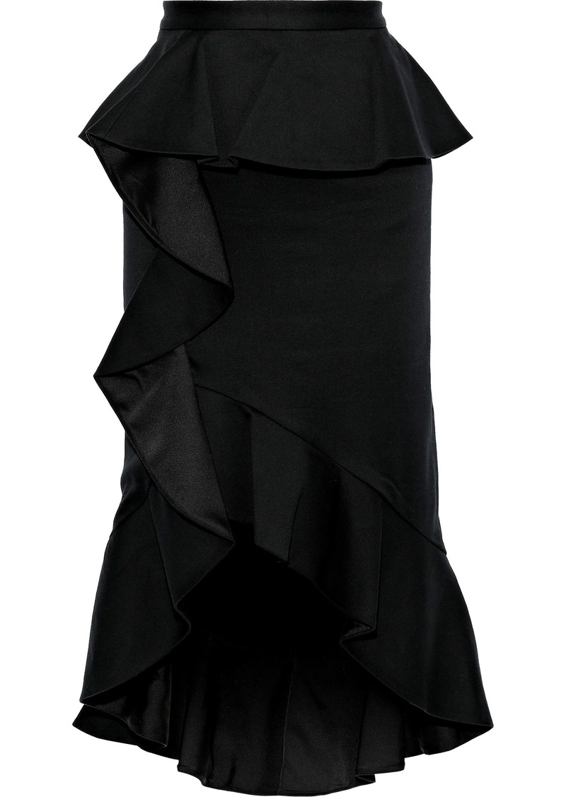 Alice + Olivia Woman Alessandra Ruffled Cotton-blend Peplum Skirt Black