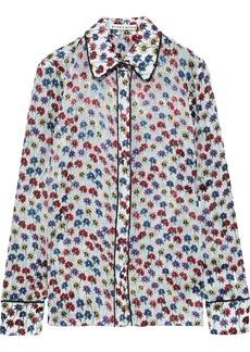 Alice + Olivia Woman Alfie Floral-print Fil Coupé Chiffon Shirt Off-white