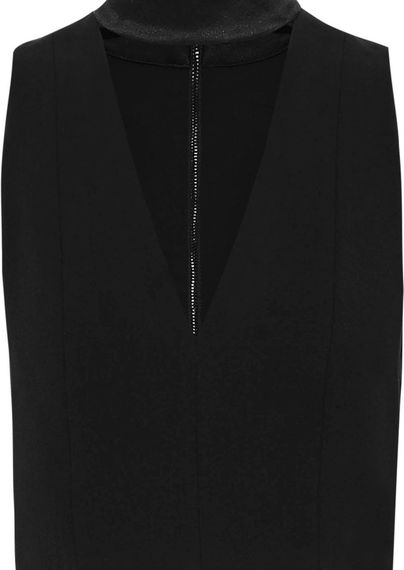Alice + Olivia Woman Alita Cutout Satin-trimmed Crepe Top Black