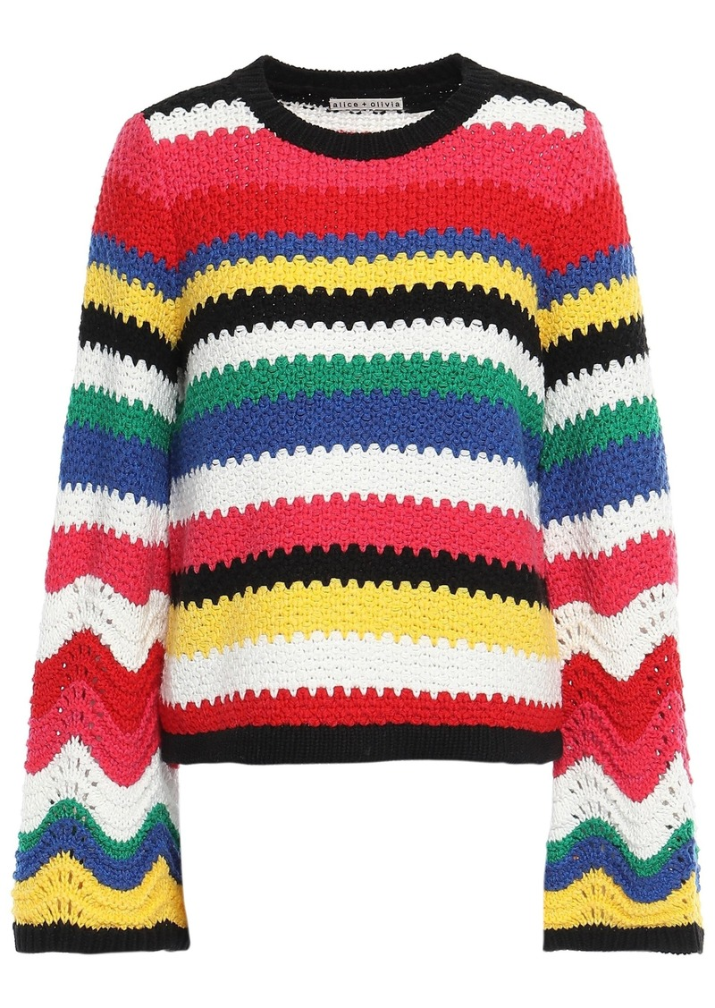 Alice + Olivia Woman Striped Crochet-knit Sweater Multicolor