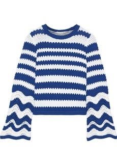 Alice + Olivia Woman Striped Crochet-knit Sweater Cobalt Blue