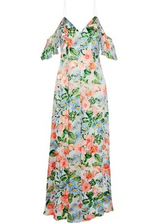 Alice + Olivia Woman Alves Cold-shoulder Floral-print Fil Coupé Chiffon Maxi Dress Multicolor