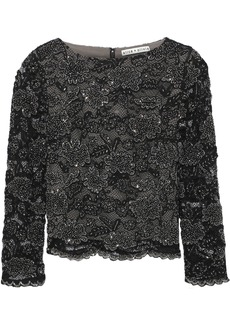 Alice + Olivia Woman Amal Bead-embellished Corded Lace Top Black