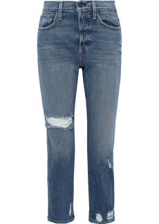 Alice + Olivia Woman Amazing Cropped Distressed High-rise Slim-leg Jeans Mid Denim