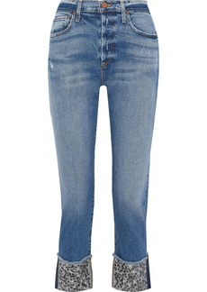 Alice + Olivia Woman Amazing Cropped Embellished Mid-rise Straight-leg Jeans Mid Denim