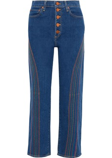 Alice + Olivia Woman Amazing Embroidered High-rise Straight-leg Jeans Mid Denim