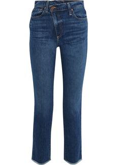 Alice + Olivia Woman Amazing Frayed High-rise Slim-leg Jeans Mid Denim