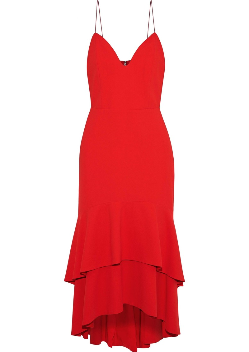 Alice + Olivia Woman Amina Tiered Crepe Midi Slip Dress Red