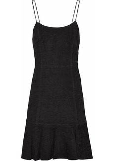 Alice + Olivia Woman Andalasia Suede Mini Slip Dress Black