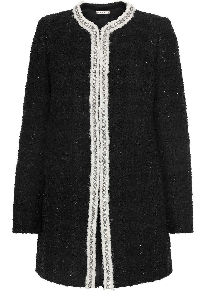 Alice + Olivia Woman Andreas Embellished Metallic Tweed Jacket Black