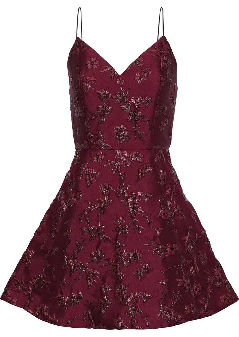 Alice + Olivia Woman Anette Pleated Metallic Floral-jacquard Mini Dress Burgundy
