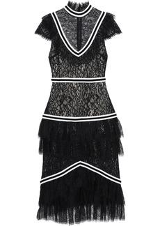 Alice + Olivia Woman Annetta Tiered Lace Midi Dress Black