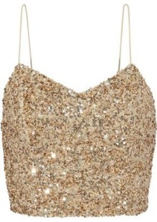 Alice + Olivia Woman Archer Cropped Sequined Tulle Camisole Gold