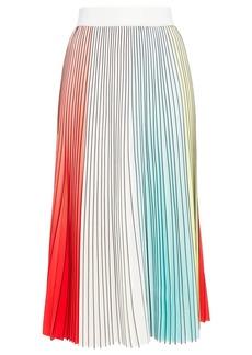 Alice + Olivia Woman Arden Pleated Color-block Crepe De Chine Midi Skirt Multicolor