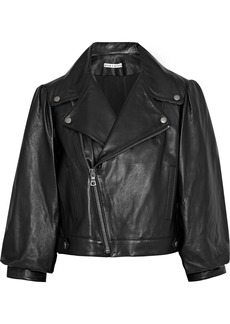 Alice + Olivia Woman Arlo Cropped Gathered Leather Biker Jacket Black