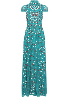Alice + Olivia Woman Arwen Cutout Embroidered Lace Turtleneck Gown Teal