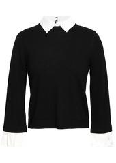 Alice + Olivia Woman Aster Convertible Poplin-trimmed Wool-blend Sweater Black