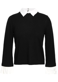 Alice + Olivia Woman Aster Convertible Poplin-trimmed Wool-blend Sweater Black