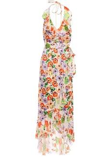 Alice + Olivia Woman Asymmetric Ruffled Fil Coupé Chiffon Halterneck Maxi Dress Ivory