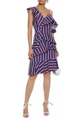 Alice + Olivia Woman Asymmetric Ruffled Striped Cotton-poplin Dress Blue