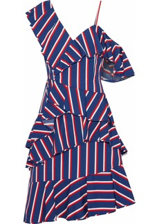 Alice + Olivia Woman Asymmetric Ruffled Striped Cotton-poplin Dress Blue