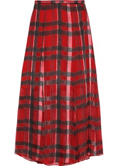 Alice + Olivia Woman Athena Checked Burnout Georgette Midi Skirt Red
