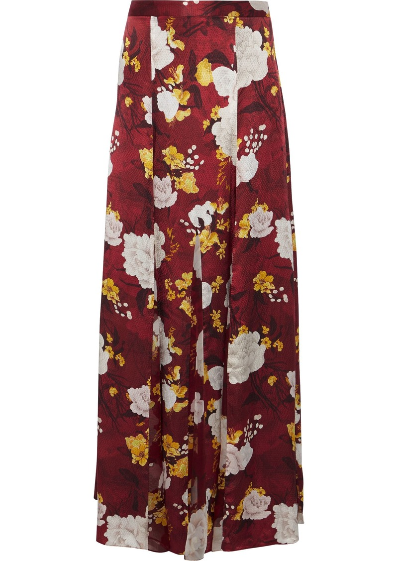 Alice + Olivia Woman Athena Floral-print Chiffon-paneled Hammered-silk Maxi Skirt Brick