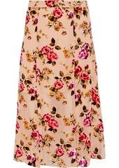 Alice + Olivia Woman Athena Floral-print Flocked Chiffon Midi Skirt Pastel Pink