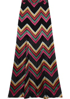 Alice + Olivia Woman Athena Fluted Fil Coupé Chiffon Maxi Skirt Multicolor