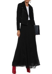 Alice + Olivia Woman Athena Lace-paneled Fil Coupé Silk And Cotton-blend Maxi Skirt Black