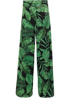 Alice + Olivia Woman Athena Printed Crepe De Chine Wide-leg Pants Green