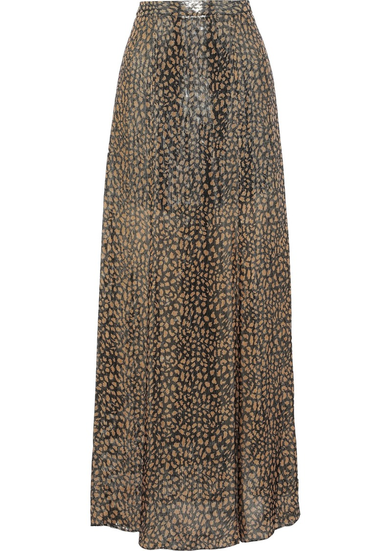 Alice + Olivia Woman Athena Printed Silk-blend Lamé Maxi Skirt Gold