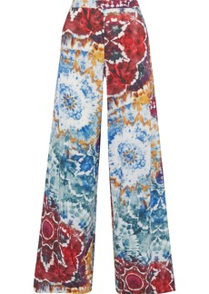 Alice + Olivia Woman Athena Tie-dyed Crepe De Chine Wide-leg Pants Multicolor