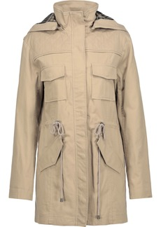 Alice + Olivia Woman Atticus Cotton-blend Hooded Jacket Sand