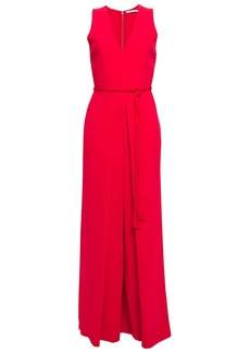 Alice + Olivia Woman Audrie Belted Pleated Crepe Wide-leg Jumpsuit Papaya