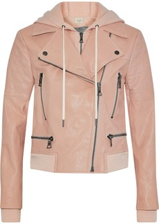 Alice + Olivia Woman Avrel Leather Hooded Biker Jacket Blush