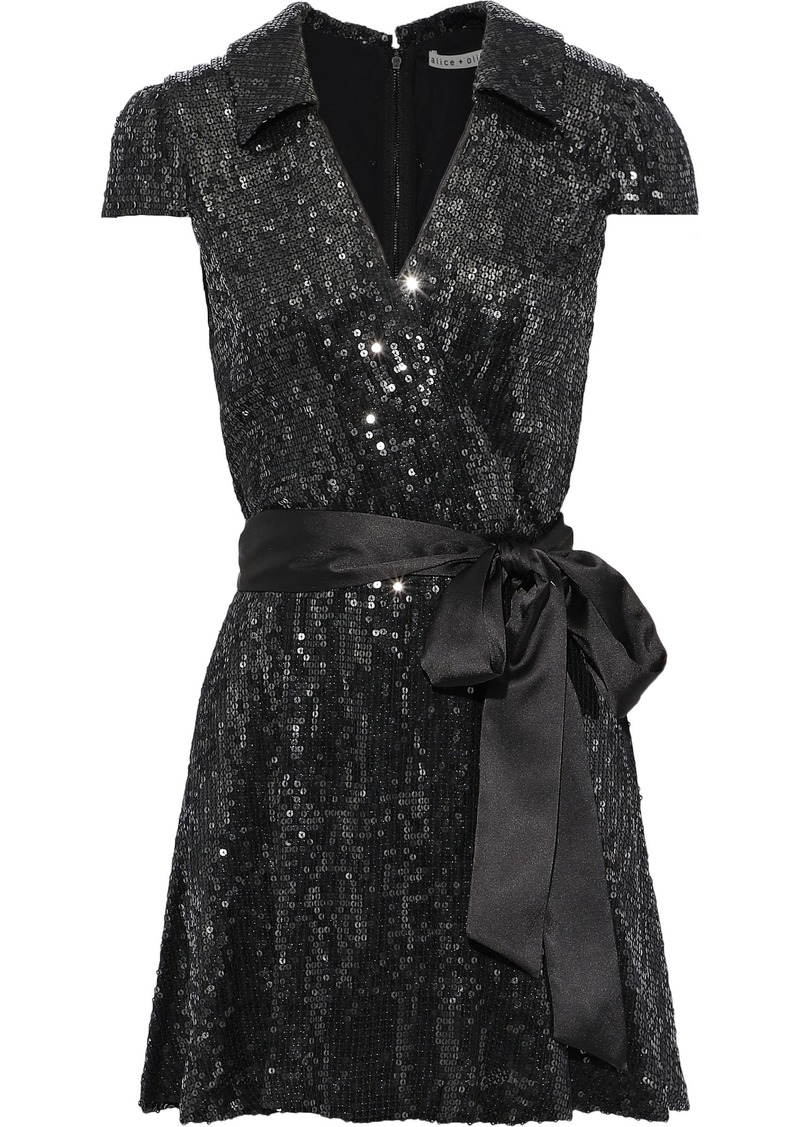 Alice + Olivia Woman Bayley Wrap-effect Sequined Chiffon Mini Dress Black