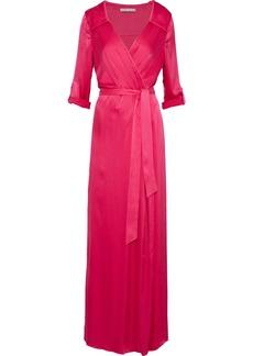 Alice + Olivia Woman Bayley Wrap-effect Silk-blend Satin Maxi Dress Fuchsia