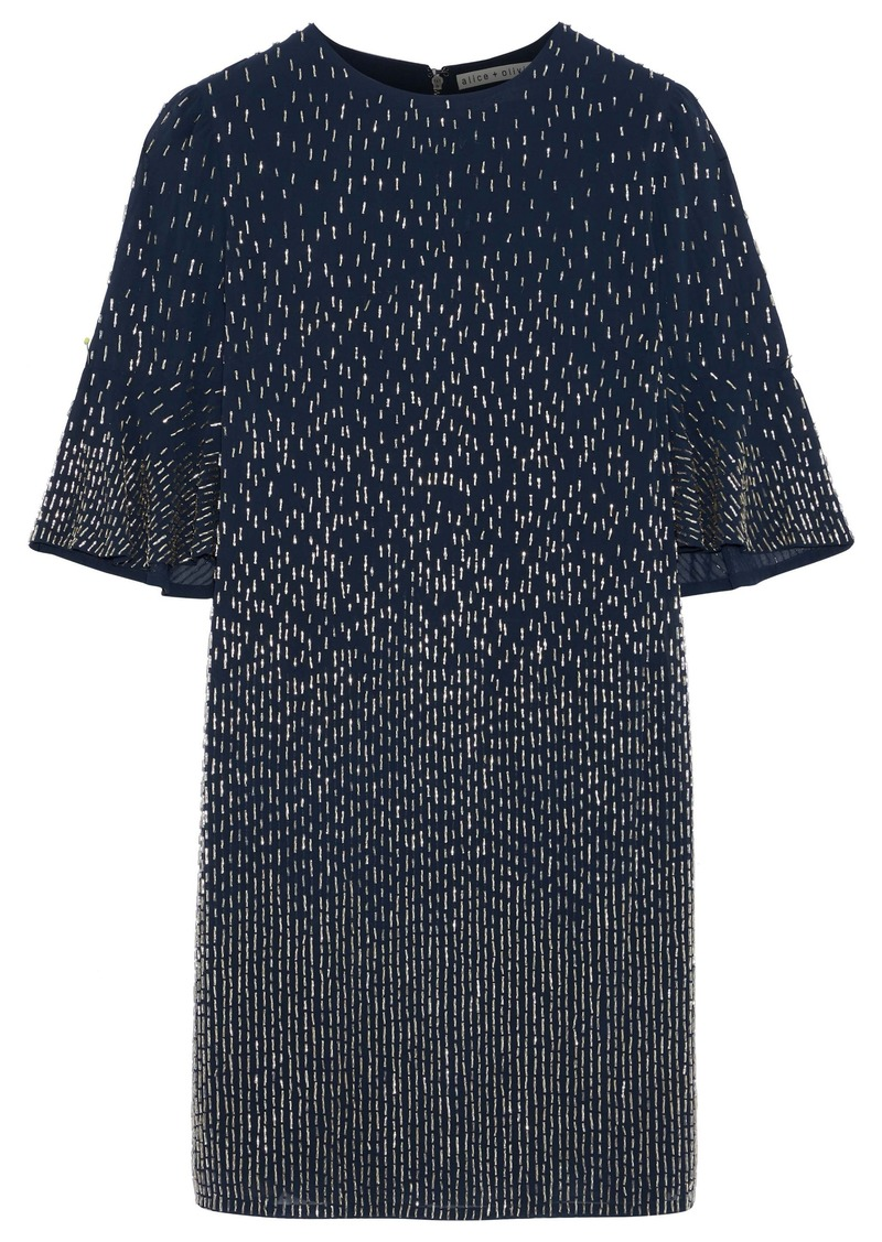 Alice + Olivia Woman Bead-embellished Chiffon Mini Dress Navy
