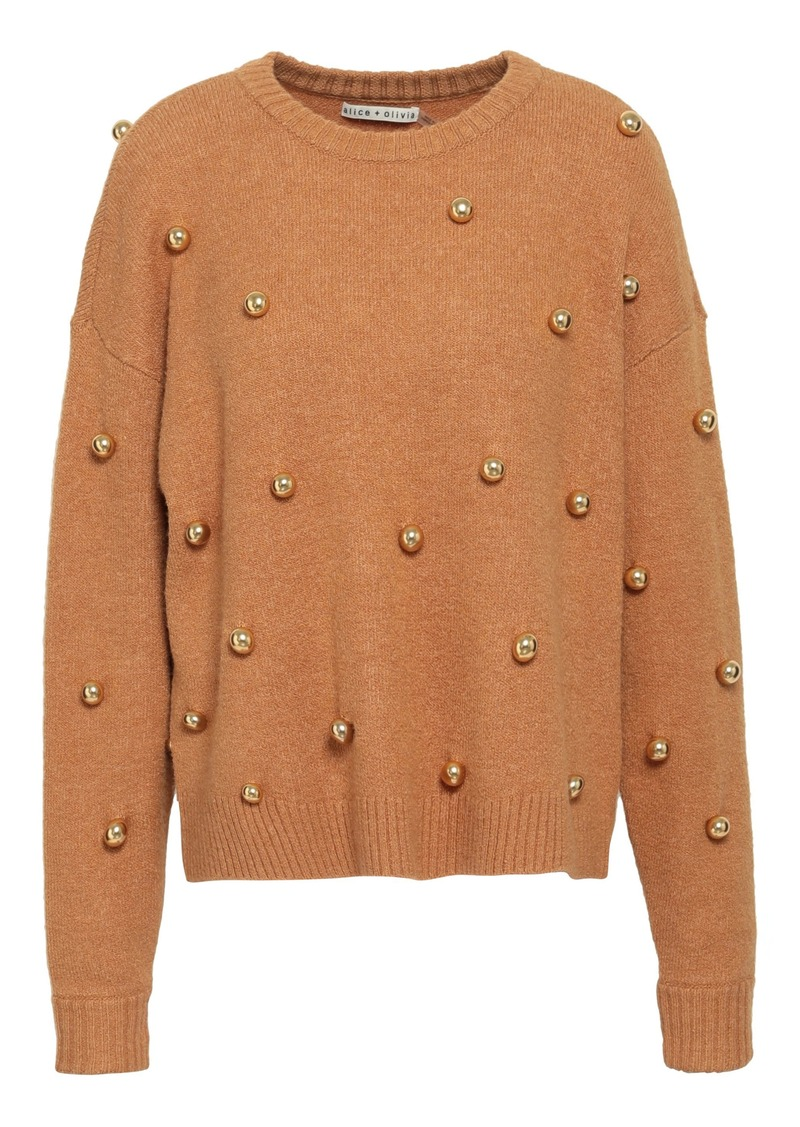 Alice + Olivia Woman Bead-embellished Knitted Sweater Light Brown
