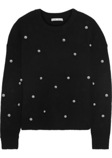 Alice + Olivia Woman Bead-embellished Knitted Sweater Black