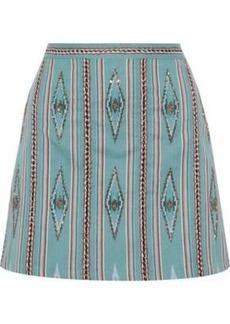 Alice + Olivia Woman Bead-embellished Woven Cotton Mini Skirt Mint