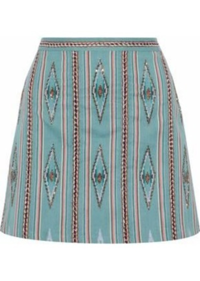Alice + Olivia Woman Bead-embellished Woven Cotton Mini Skirt Mint