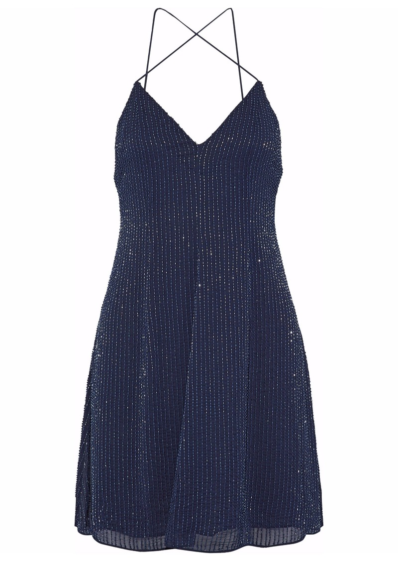 Alice + Olivia Woman Beaded Silk-chiffon Mini Dress Navy