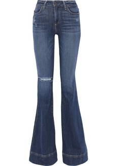 Alice + Olivia Woman Beautiful Distressed Low-rise Flared Jeans Mid Denim