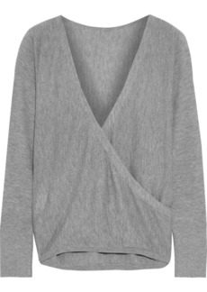 Alice + Olivia Woman Bedelle Wrap-effect Knitted Sweater Gray