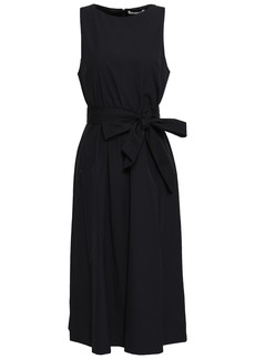 Alice + Olivia Woman Belted Cotton-poplin Dress Black
